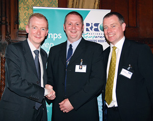 Colin Ramsden receives the One-in-a-million award at the House of Commons, UK, in June 2008